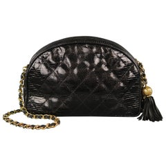 Vintage CHANEL Black Quilted Lizard Leather Gold Chain Strap Shoulder Handbag