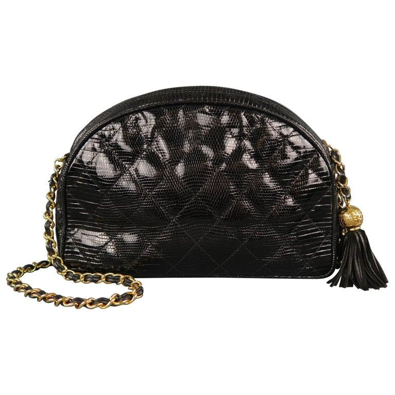 db8092ca5a3970 Vintage CHANEL Black Quilted Lizard Leather Gold Chain Strap Shoulder  Handbag For Sale