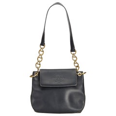 Prada Black Calf Leather Chain Shoulder Bag