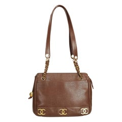 Chanel Brown x Dark Brown Leather Chain Shoulder Bag