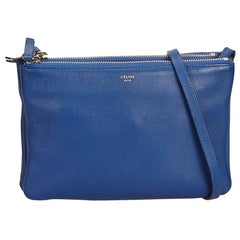 Celine Blue Small Leather Trio Bag