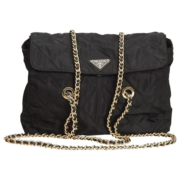 Prada Black Quilted Nylon Chain Tote Bag at 1stdibs c670ee7d47