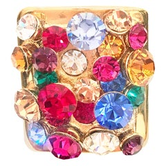 21st Century Monumental Gold & Swarovski Crystal Cocktail Ring By, Kate Spade