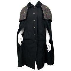 Vintage Kapuzenjacke oder Mantel aus schwarzer Wolle, Deutschland, 1960er Jahre