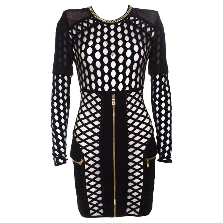 Balmain Black Knit Cutout Mesh Detail Zip Front Bodycon Dress S For
