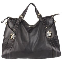 Gucci Black Leather Crest Boule Tote Bag
