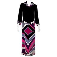 Multicolor Vintage Emilio Pucci Velvet Maxi Dress