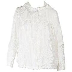 White Moncler Crinkled Hooded Jacket