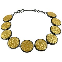 Yves Saint Laurent YSL Vintage Limited Edition Textured Disc Necklace