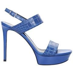 Blue Yves Saint Laurent Leather Platform Sandals