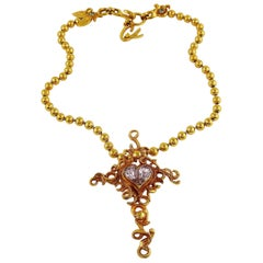 Christian Lacroix Vintage Gold Toned Jewelled Cross Pendant Necklace