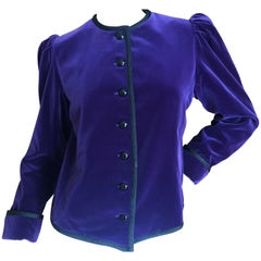 Yves Saint Laurent Rive Gauche 1970's Purple Velvet Jacket with Black Cord Trim
