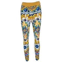Dolce and Gabbana Majolica Printed Silk Elasticized Waist Skinny Pants S