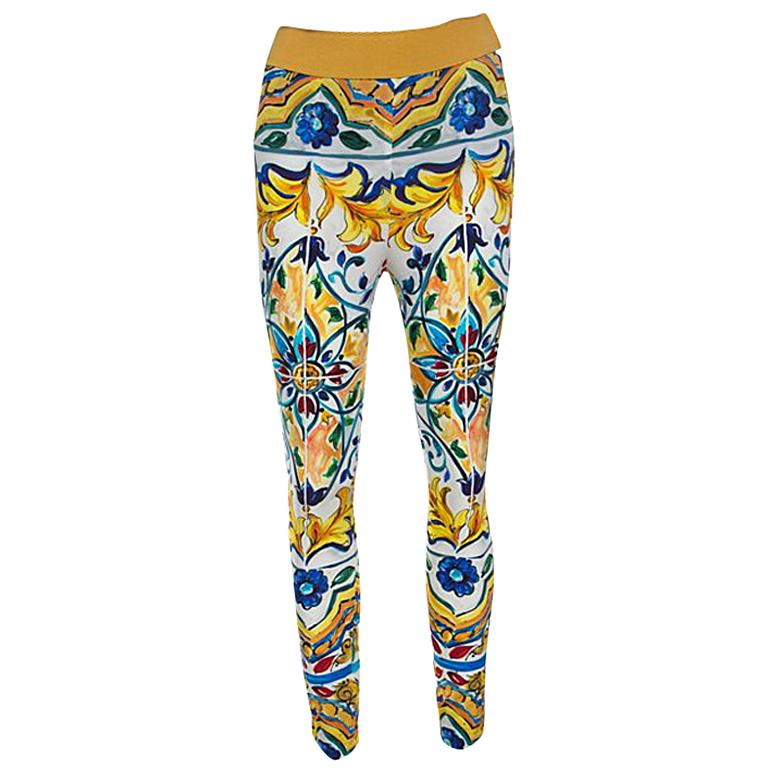 Dolce and Gabbana Majolica Printed Silk Elasticized Waist Skinny Pants S For Sale