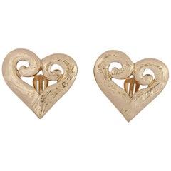 Yves Saint Laurent 1980s Gold Tone Heart Earrings