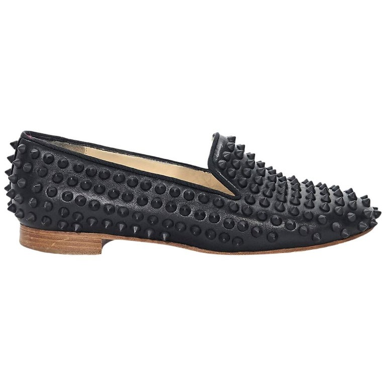 dea10beeb86 Black Christian Louboutin Studded Loafers