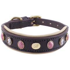 Cameo Stone Leather Dog Collar