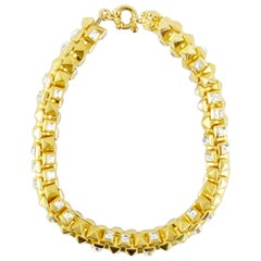 Gianni Versace 1990s gold stud and stone choker necklace