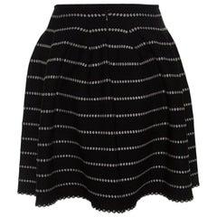 Alaia Monochrome Embossed Jacquard Knit High Waist Mini Skirt M