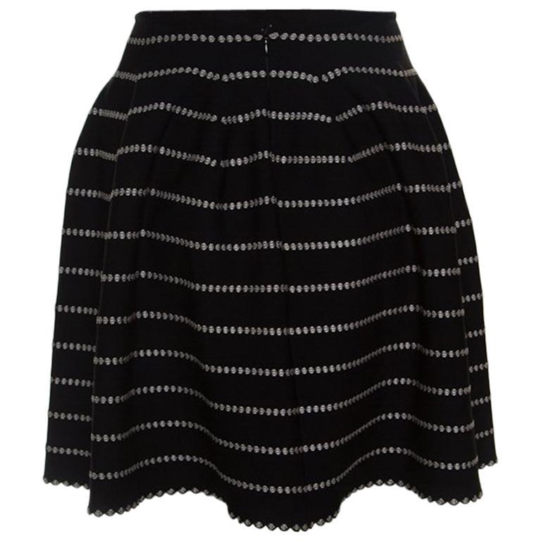 Alaia Monochrome Embossed Jacquard Knit High Waist Mini Skirt M For Sale