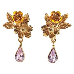 1990s Christian Lacriox Gold Tone Crystal Drop Earrings