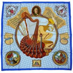 Hermes Vintage Silk Carre Scarf Hommage à Mozart by Julie Abadie