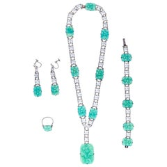 1930s Silver & Peking Glass Art Deco 4 Piece Jewellery Set With Rock Crystals