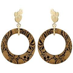 Fouché Horn Africa Engraved Earrings