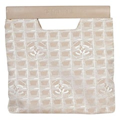Ivory Chanel Foldover Fabric Clutch