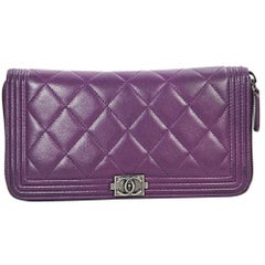Purple Chanel Quilted Leather Boy Wallet