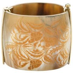 Fouché Bracelet Bespoke Cuff Emerald Horn Fire Opal