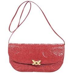 Red Vintage Judith Leiber Embossed Leather Shoulder Bag