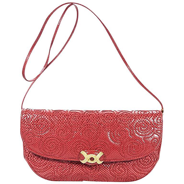 Red Vintage Judith Leiber Embossed Leather Shoulder Bag For Sale