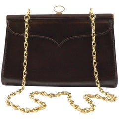Eros Dark Chocolate Brown Leather Handbag with Chain Link Strap, Made in England