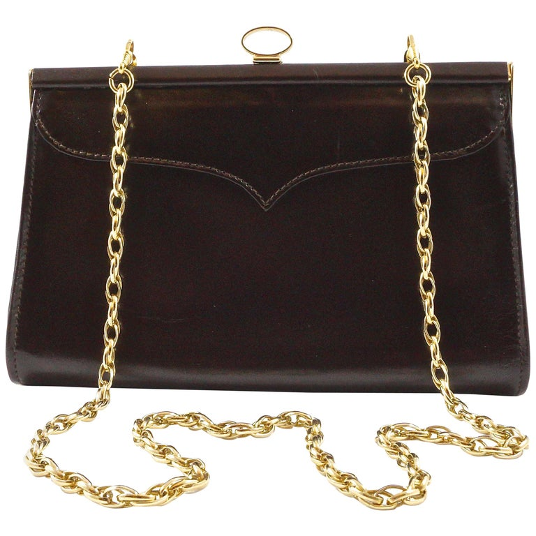 Eros Dark Chocolate Brown Leather Handbag With Chain Link Strap Made In England For