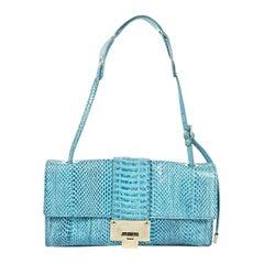 Blue Jimmy Choo Snakeskin Shoulder Bag