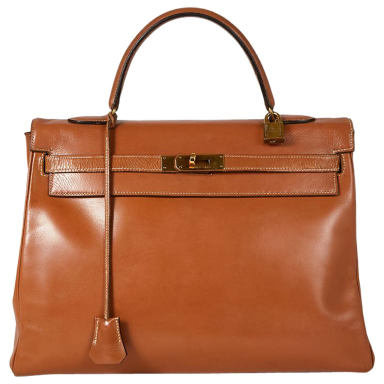 HERMES Vintage Kelly 35 Bag in Caramel Box Leather