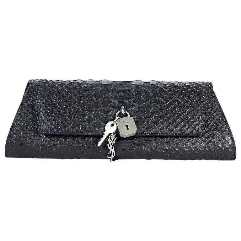 76a7642a128 Black Yves Saint Laurent Snakeskin Punk Clutch For Sale at 1stdibs