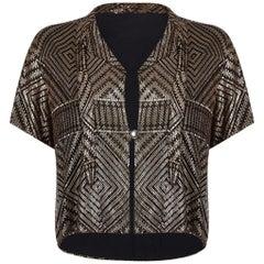 Vintage 1920s Assuit Bolero Jacket With Hammered Silver Embellishment