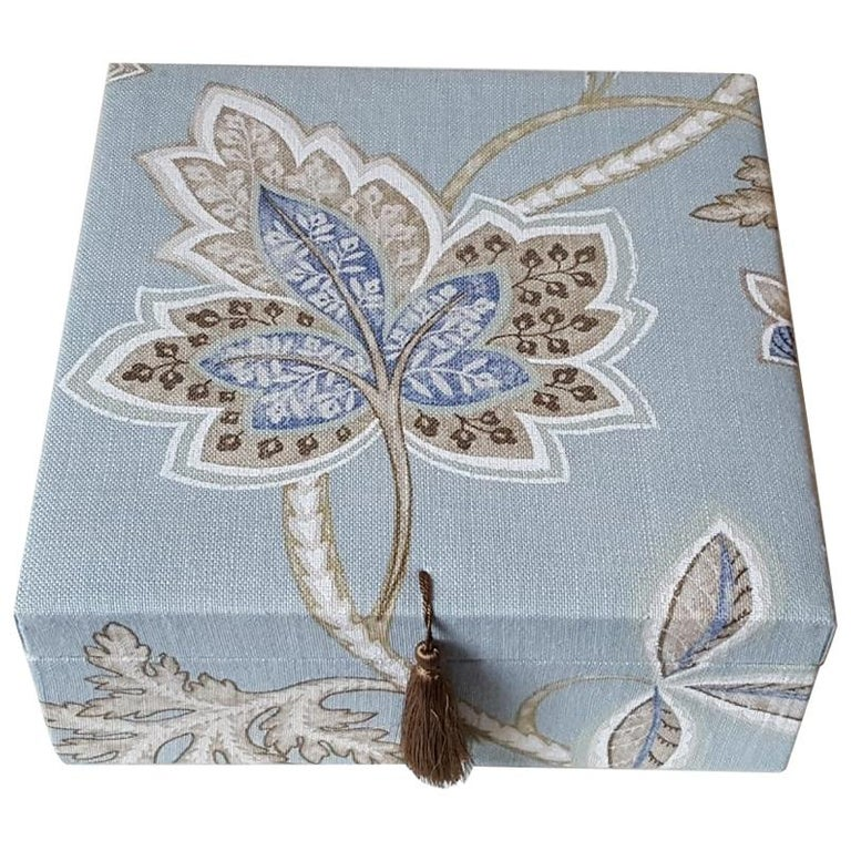 Leaves Pattern Fabric Decorative Storage Box for Scarves  For Sale