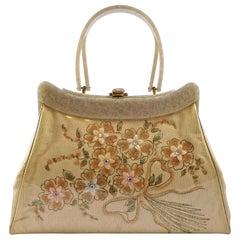Rialto 1950s Lucite Vinyl Cream Fabric Handbag with Flowers and Rhinestones
