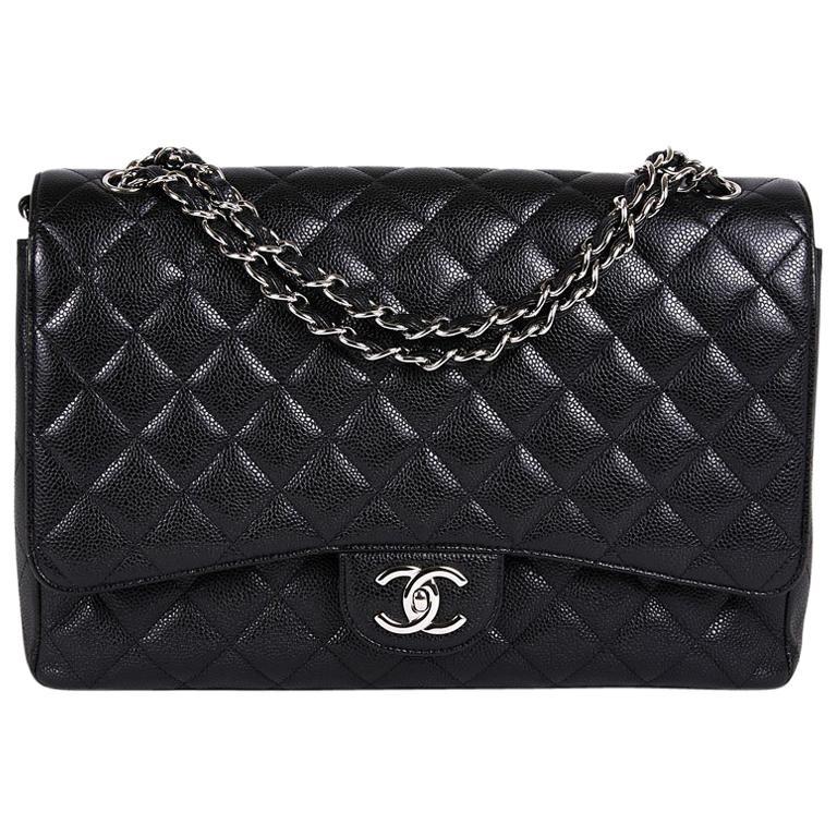 e4475c6dde3f CHANEL Maxi Jumbo Double Flap Bag in Black Caviar Leather For Sale ...