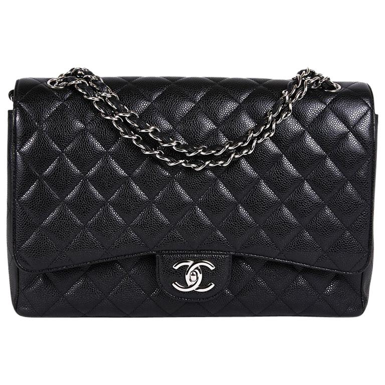 9725bc84dc0 CHANEL Maxi Jumbo Double Flap Bag in Black Caviar Leather For Sale ...