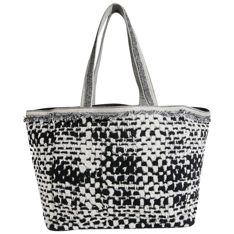 84165fd99474 CHANEL Beach Bag in Black and Gray Terry Cloth with a Tweed Effect For Sale