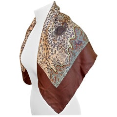 Liberty of London Square All Silk Bird Plant Aquatic Print Multi Brown Scarf