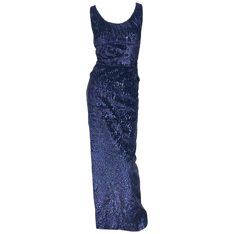 Anonymous Couture 1990s Black Purple Size 6 Metallic Cut Silk Velvet Lurex Gown For Sale
