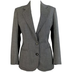 1980s Burberrys Gray Houndstooth  Slim Fit Blazer Jacket