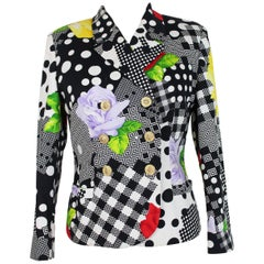 1990s Gianni Versace Floral Polka Dot Black White Blazer Jacket