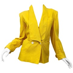 1445da7a736 Vintage Yves Saint Laurent 1970s Canary Yellow Double Breasted 70s Jacket  Blazer