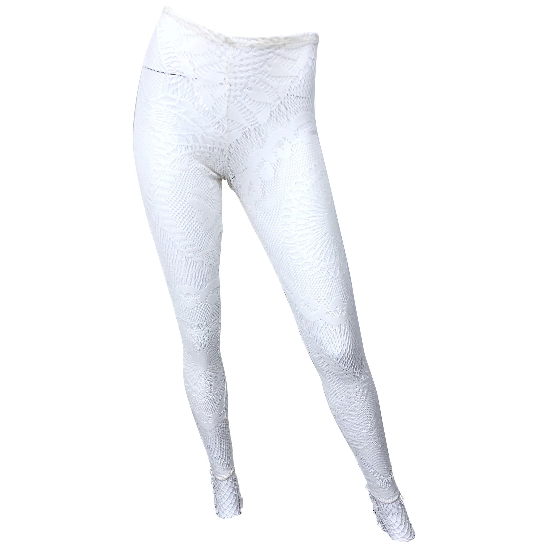 d261bd67633de9 New 1990s Jean Paul Gaultier White Crochet Sheer Vintage 90s Leggings  Stockings For Sale at 1stdibs